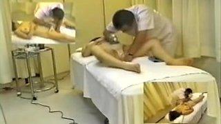 Busty Japanese enjoys sex toys in sexy voyeur massage fun