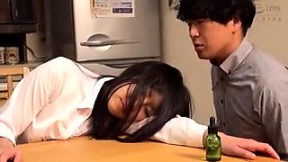 Sleeping Japanese babe with big hooters gets fed a meat pole