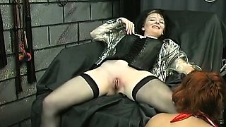 Nude woman screams with stud roughly playing with her vag