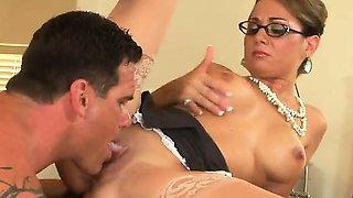 Big boobed mature secretary in pantyhose Holly gets slick