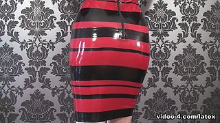 Ulorin Vex in Red and Black Dress - LatexHeavenVideo