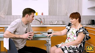 SHAME4K. Mature redhead agrees to get off if a friends son visits her