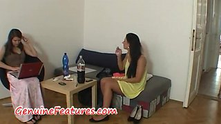Real czech brunette does striptease and BJ