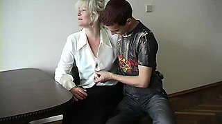 Hardcore Granny sex with young blonde girl