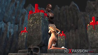 Hot sex! Black guy plays with a sexy bride in the dungeon
