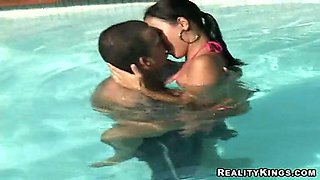 Rough sex after a dip in the pool with Bianca Lopes