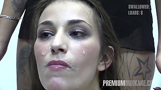 Premium Bukkake - Alma swallows 64 huge mouthful cum loads