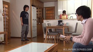 Asian housewife is eaten out before sucking a cock in her kitchen