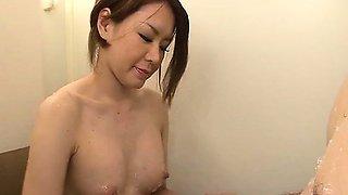 Teen cutie China Mimura strips and has a big cock stuffed