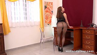 Several sex toys gonna be used by leggy wet and pissy nympho Antonia