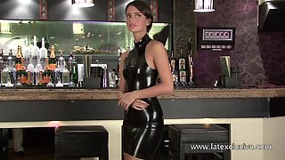 Kinky latex fetish girl and her bar solo right on the counter is must see