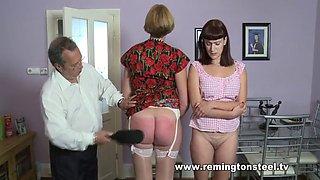 Mom daughter spanking