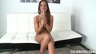 Amazing Black Angelica spreading and masturbating