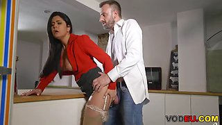 Vodeu big titted secretary takes the boss&#039 hard cock