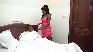African BBW Nurse Cures the Virus with Head and Ass