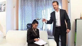 Naughty Boss Bangs Her Gorgeous Brunette Secretary