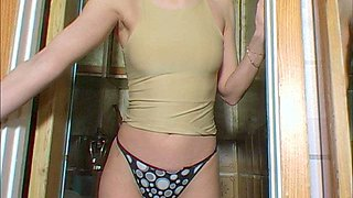 This babe is pretty horny and shameless and she is looking to pee