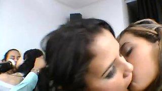 Hot Latina girls in kissing action