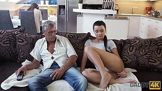 DADDY4K. Brunette satisfies her sexual needs using fuck