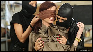 Lesbian Bella Baby used and abused by two masked babes with toys