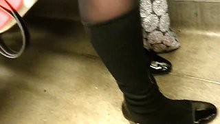 Candid pantyhose sexy legs 3