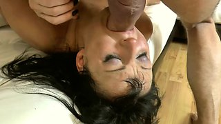 Milf rims Ben Dovers ass and gags before taking anal