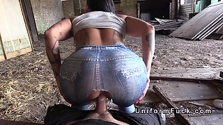 Fake cop fucks busty babe in jeans in the barn
