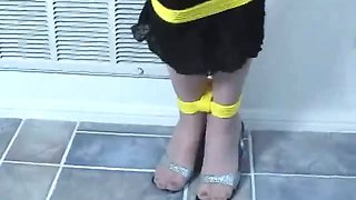 Superb blonde slave in black costume Mayra gets gagged and