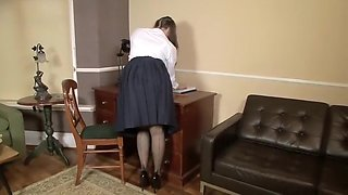 Schoolgirl Cherry Blush plays in vintage panties