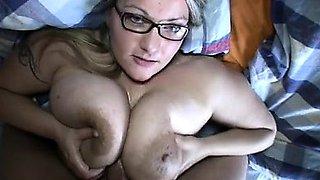 Blonde secretary with big boobs fucking hard