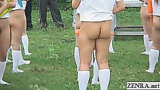 Subtitled bottomless outdoor Japan schoolgirls assembly