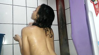 Cute arab girlfriend shower with milk