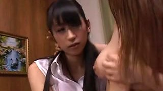 Japanese Big Boobs, Lesbian Tongue Kissing, Tribbing, 3-way